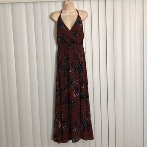 BAND OF GYPSIES Slit Front Floral Maxi Dress Small